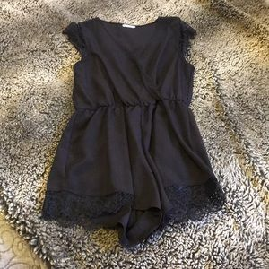 Urban Outfitters Black Romper with Lace Detail